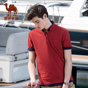 骆驼男装 夏季新款绣标翻领纯色POLO衫印花字母男青年短袖T