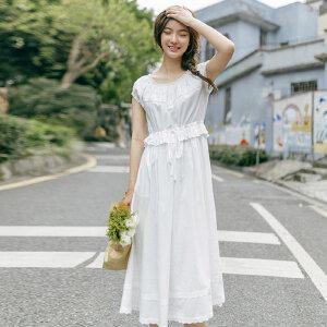【每满200减100】茵曼夏装新款纯棉圆领净色花边高腰连衣裙女【1872102594】