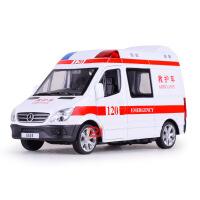 仿真邮政快递声光合金车模型奔驰120救护110警车儿童玩具汽车