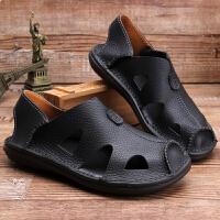 夏季凉鞋男真皮镂空软面皮凉鞋休闲透气防滑洞洞鞋套脚包头沙滩鞋 黑色(黑色)