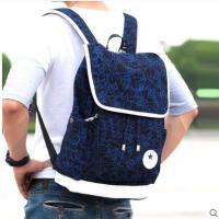 精美花纹时尚拼接抽绳旅行背包电脑包双肩包男学院风书包