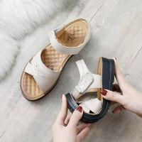 妈妈凉鞋女鞋夏季平底中年40岁软底50舒适中老年奶奶老人