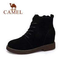 camel 骆驼女靴 冬季新款 时尚复古马丁靴女 英伦风系带绒里短靴子