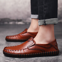 春夏季透气皮鞋男真皮英伦休闲鞋男士豆豆鞋懒人鞋2019新款男鞋潮鞋