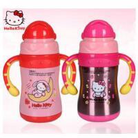 新款正品Hello Kitty不锈钢儿童保温杯 双手柄创意真空吸管学饮杯