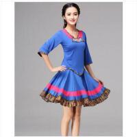 拼接时尚花朵不规则上衣短裙两件套民族风大摆裙舞蹈服装广场舞服套装
