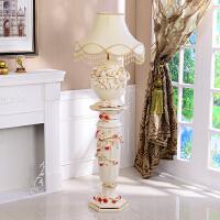 欧式落地大花瓶摆件高档陶瓷罗马柱子客厅家居装饰品插花新居礼物 白草莓 罗马柱+台灯