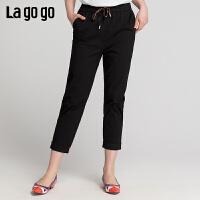【新品5折价125】Lgogo/拉谷谷2019夏季新款撞色字母织带休闲裤女IAKK435A53