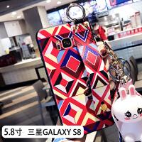 三星S8手机壳s9保护套s8+全包s7防摔plus曲屏s6e新款j5108个性创意j7108后盖s7 三星s8-红几何