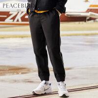 太平鸟男装 男士黑色束腿裤侧边白条休闲裤青年新款舒适裤子