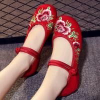 新款老北京布鞋女坡跟内增高绣花鞋民族风女鞋广场舞蹈妈妈鞋