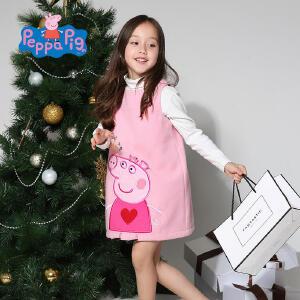 小猪佩奇正版童装女童春装可爱佩奇绣花无袖毛呢背心裙