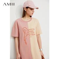 Amii极简休闲撞色连衣裙女2021夏季新款学院风印花宽松中长裙