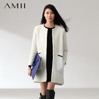 【券后秒杀80元】AMII[极简主义]冬新品小圆领暗扣撞色拼接口袋长款毛呢大衣外套11480577