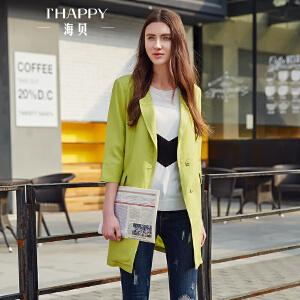 【街拍】海贝2017年秋季新款女装外套 翻驳领简约纯色亚麻时尚七分袖风衣