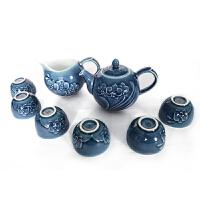 乾唐轩活瓷杯茶具礼盒装蝴蝶兰花绿釉功夫绿花红茶铁观音茶具套组
