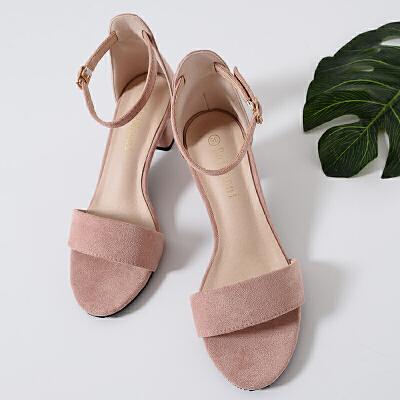 凉鞋女鞋2019新款女夏天中跟网红小清新高跟鞋一字带仙女粗跟 粉色 5厘米
