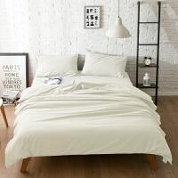 纯色网红床上用品纯棉磨毛1.5m床单被套三件套1.8m床笠四件套 白色 -单色 0.8~1.2m宽床(被套配150*2