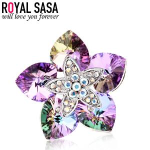 皇家莎莎领针韩版时尚饰品花朵绽放胸针女 胸花配饰送女友生日礼物