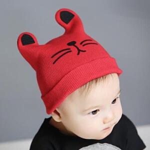 Yinbeler韩版婴儿帽子春秋冬毛线帽6-18个月男女宝宝帽子新生婴儿套头帽