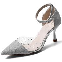 银色高跟鞋少女细跟尖头2019春季新款百搭伴娘性感包头凉鞋一字扣夏季百搭鞋