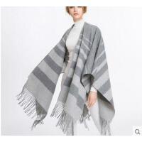 格纹披毯超长加厚灰色羊毛披肩斗篷外套女 韩版百搭加厚550克双层双面围巾女