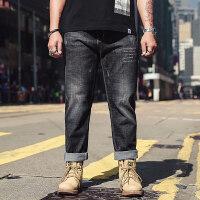 大码牛仔裤男宽松肥佬潮胖胖子星球加肥加大裤子字母拔印秋季长裤 黑灰色