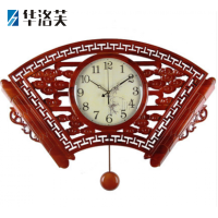钟表中式挂钟客厅个性创意中国风扇形静音大时钟家用复古木石英钟J 香樟木镂空大扇子 棕色园摆