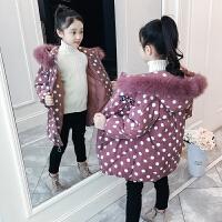 儿童波点外套中大童棉袄女童