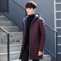 吉普盾男士秋冬轻薄修身中长款羽绒服男学生羽绒外套时尚韩版青少年连帽羽绒服男装上衣