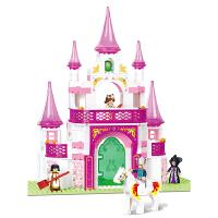 小鲁班拼装积木益智拼插女孩益智玩具粉色梦幻宫殿5-6-7岁以上