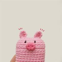趣味原创手工airpods毛线保护套 少女粉猪猪可爱耳机盒防摔保护套 粉猪猪耳机套