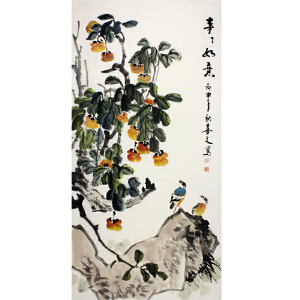 山东省美术家协会会员 刘喜文 《事事如意》70*138cm