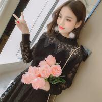 蕾�z�B衣裙女2018春季新款�n版修身小香�L�却铉U空a字打底裙秋冬