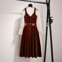 丝绒吊带连衣裙秋冬女2018新款法式早秋金丝绒桔梗裙子气质两件套