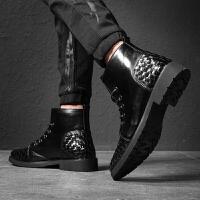 潮男鞋秋季时尚高帮中帮黑色商务英伦韩版百搭高邦男士休闲皮鞋 黑色