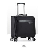 18寸拉杆箱女空姐登机箱 万向轮横款小行李箱 牛津布轻便旅行箱男 黑色 黑色牛津布 18寸