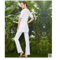 新款白色瑜伽服套装女青花瑜珈服
