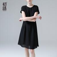 初语夏季新款 圆领纯色交叉后幅设计雪纺连衣裙