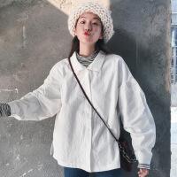 秋装女装新款韩版学院风泡泡袖宽松翻领长袖白色衬衫休闲衬衣上衣 白色