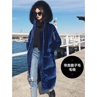 大毛领金丝绒羽绒服女士中长款冬款2018新款韩版时尚过膝反季欧货