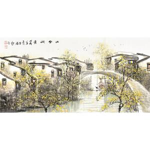 当代知名画家  韦荣福《江南秋景》gs01228