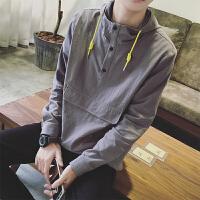 男士衬衣春季新款韩版学生长袖衬衫男宽松百搭连帽寸衫潮上衣