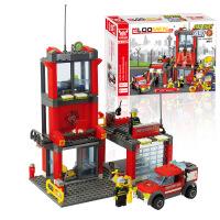 儿童益智拼装积木玩具 小颗粒积木消防局 消防车创意玩具8052