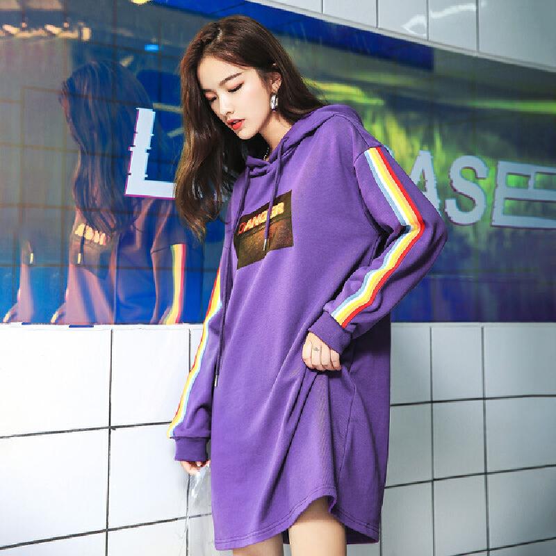 七格格中长款连帽裙子秋装女新款印花时尚韩版冬季长袖连衣裙