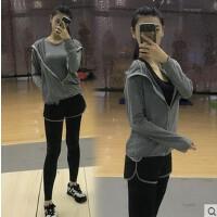 韩国瑜伽服套装秋冬女运动服三件套假两件裤健身房跑步健身服套装