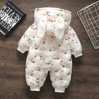 婴儿衣冬季加绒连体哈衣爬服女宝宝冬装外出服保暖棉衣外套潮