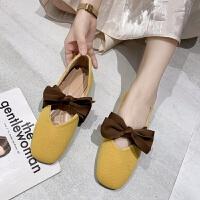 单鞋女夏2019新款韩版平跟蝴蝶结网红浅口奶奶鞋女竖纹学生豆豆鞋