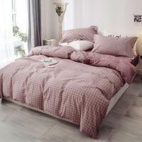 全棉纯棉简约床品被套四件套冬被子床单网红床上用品2.0*2.3 被套200*230床单230*245四件套适合1
