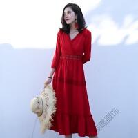 沙滩裙女夏2018裙子海边度假长裙红色连衣裙 红色